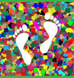 foot prints sign white icon on colorful vector image