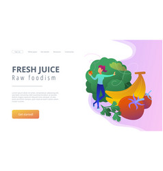 fresh juice and raw foodism landing page vector image