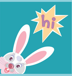 Funny smiling bunny greeting card vector
