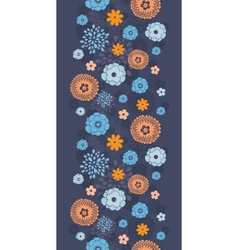 Golden and blue night flowers vertical vector