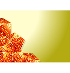 Golden cubes over white and yellow background vector