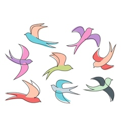 Graceful colorful flying swallow birds vector