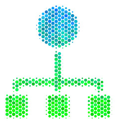 Halftone blue-green hierarchy icon vector