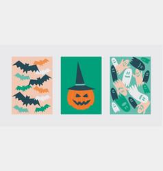 Halloween postcards with bats ghosts and pumpkin vector