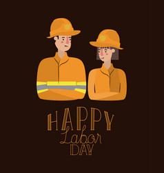 happy labor day card with workers couple vector image