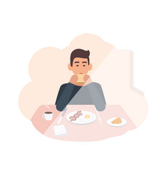 happy young man sitting at table and eating vector image