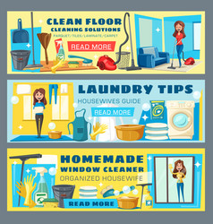 housewife cleaning floor and laundry guide banners vector image