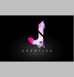 J letter artistic purple paint flow icon logo vector