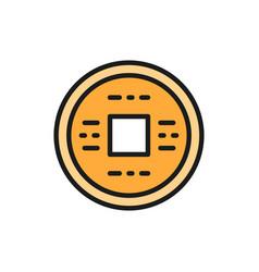 japanese money yen feng shui coin amulet vector image