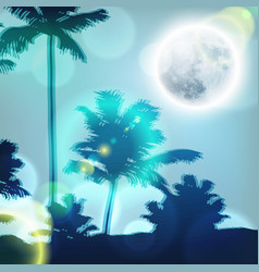 landscape with palm trees and full moon at night vector image