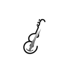 Letter e guitar for musical mono line logo vector