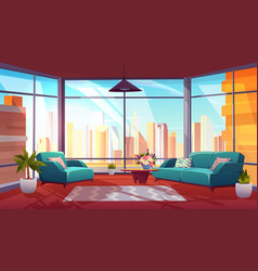Living room with panoramic window cozy apartment vector