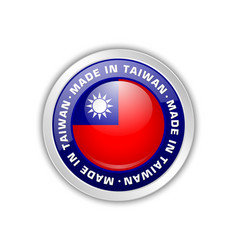 made in taiwan badge with taiwanese flag in vector image