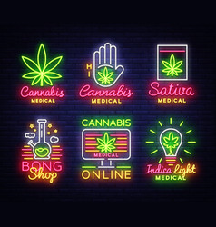 Marijuana medical logos big collection neon vector