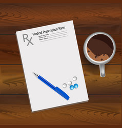medical prescription fountain pen and tablets vector image