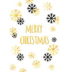 Merry christmas card with golden snowflakes vector