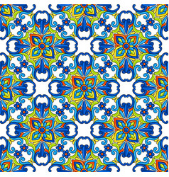 Mexican talavera ceramic tile seamless pattern vector
