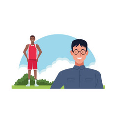 Nerd and basketball player perfectly imperfect vector