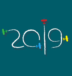 new year 2019 - cartoon planes vector image