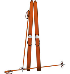 Old wooden alpine skis and old ski poles vector
