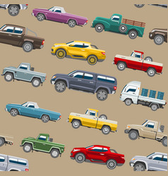 pickup car seamless pattern auto delivery vector image