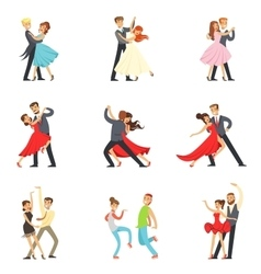 Professional Dancer Couple Dancing Tango Waltz vector