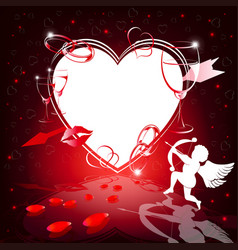Red design with silhouettes of heart and cupid vector
