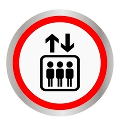 Round icon with the image of the elevator with vector image