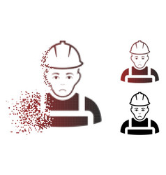 Sad fragmented pixelated halftone worker icon vector