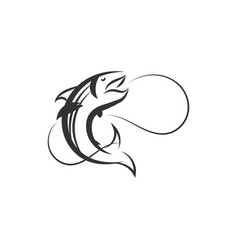 salmon bass logo designs inspiration vector image