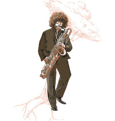 saxophonist an young sax man playing saxophone vector image
