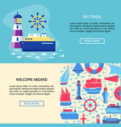 Sea adventure concept banner templates with place vector