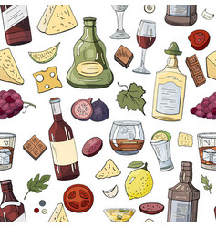 seamless pattern with alcohol bottles and drinks vector image