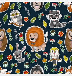 seamless pattern with cute baanimals andflowers vector image