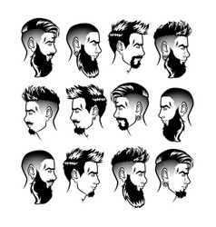 Set bearded men faces profile hipsters vector