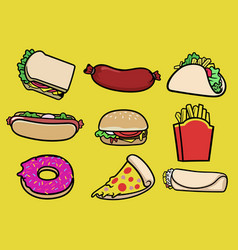 set fast food collection vector image