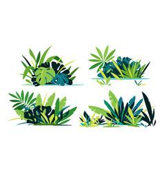 Set green jungle plant compositions vector