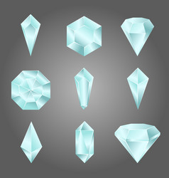 Set of glass crystals and gemstones vector