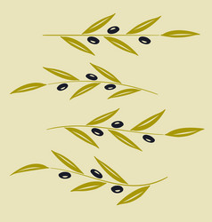 set of olive branch sign vector image