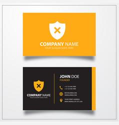Shield remove icon business card template vector