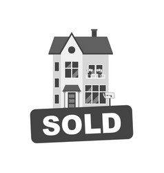 sold sign with house home for rental in flat style vector image