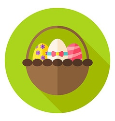 Spring Basket with Easter Eggs Circle Icon vector image