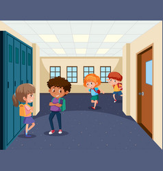 Students in school hallway vector