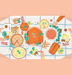 Thanksgiving festive dinner tasty traditional vector