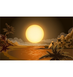 the sunset in micronesia vector image