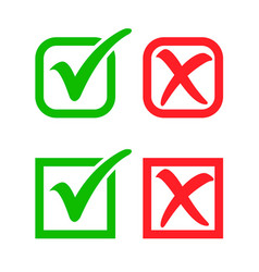 Tick check and cross mark in boxes vector