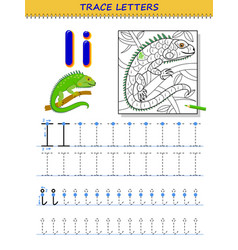 Tracing letter i for study alphabet printable vector