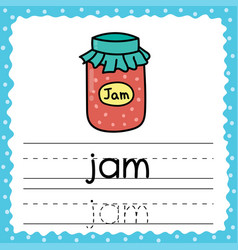 Tracing words flashcard - jam writing practice vector