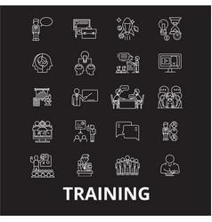 training editable line icons set on black vector image
