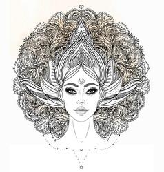 Tribal fusion boho diva beautiful asian divine vector